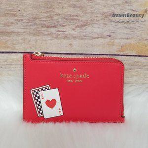 Kate Spade Lucky Draw Medium L-zip Card Holder Red